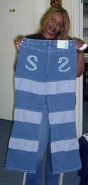 Jean avec bandes de tissu
